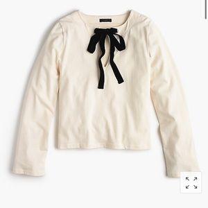 J. Crew Velvet Bow Tie Shirt Sweater